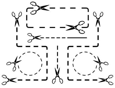 many dotted line set with scissors silhouette Vector