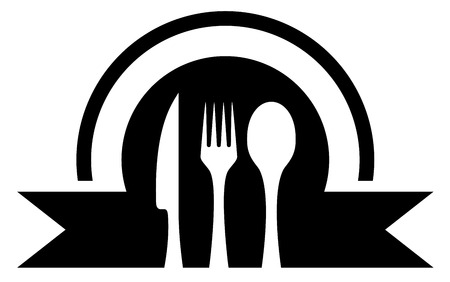 black kitchen icon with white utensil silhouette Vector
