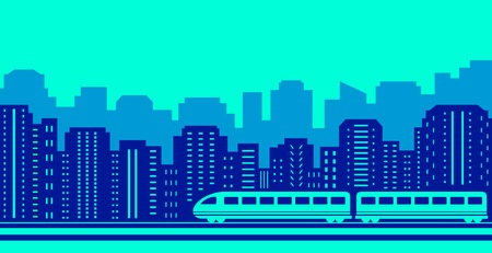 megalopolis: background with moving train on blue urban landscaping