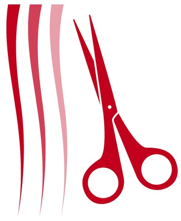 hairbrush: red haircut icon with hair and scissors silhouette