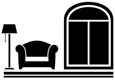czarne wnętrze ikona z fotelem, lampy podłogowe i okna sylwetka