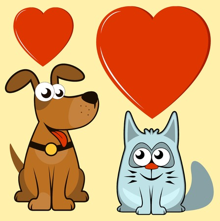 happy cartoon isolated dog and cat lovers Stock Vector - 28921316