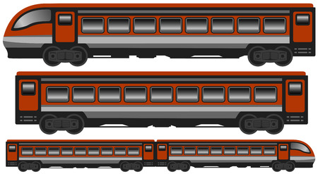 set isolated modern train with car carriage
