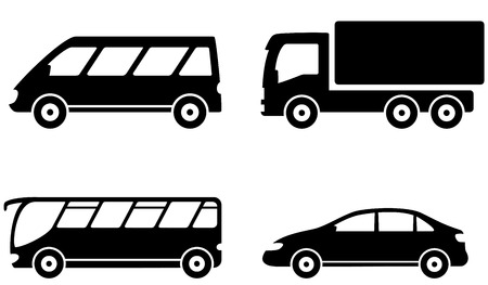 isolated transport set icon with vehicle, bus, truck and car Vector