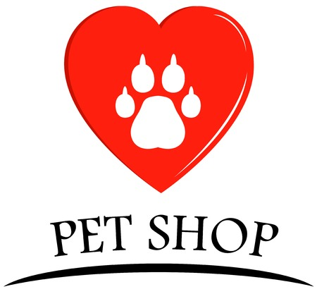 veterinary symbol: pet shop symbol with heart and dog paw