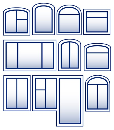 set blue isolated window silhouette on white background Vector