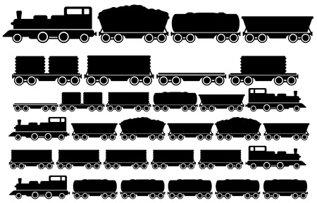 cargo and freight train with coach set Vector