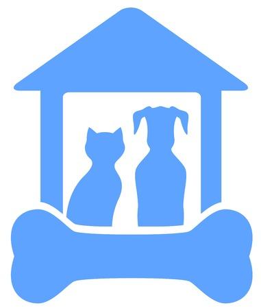 blauwe icoon met hond en kat op huis met bot silhouet