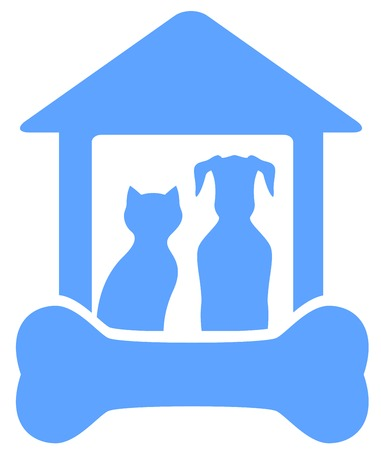 blue icon with dog and cat on home with bone silhouette Çizim