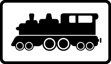 isolated black train on white background and frame Vector