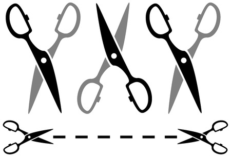 cut line: set metal scissors silhouette on white background with dotted line