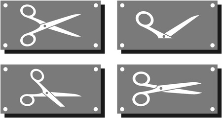 scissors cutting paper: set white scissors on gray metal plate