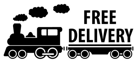 delivery symbol with train and platform for cargo Vector