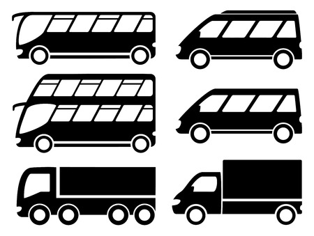 decker: isolated cargo transport set with lorry, bus and double decker