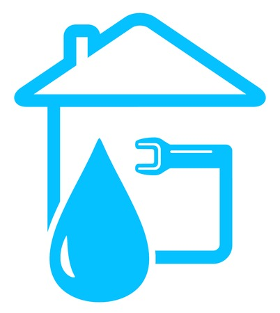 potable: blue plumbing icon with drop of water and spanner on home Illustration