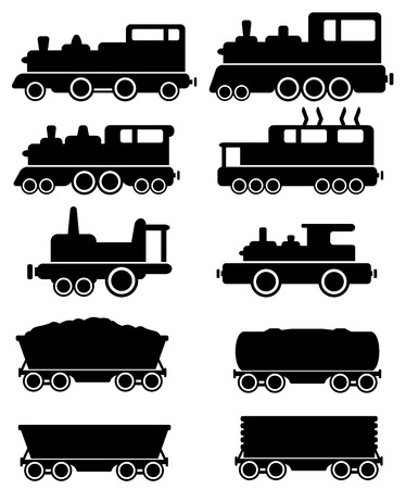 wood railroad: set black train and railroad car silhouette