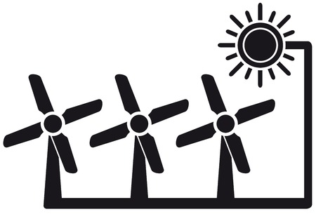 windpower: black icon with alternative energy symbol with windmill Illustration