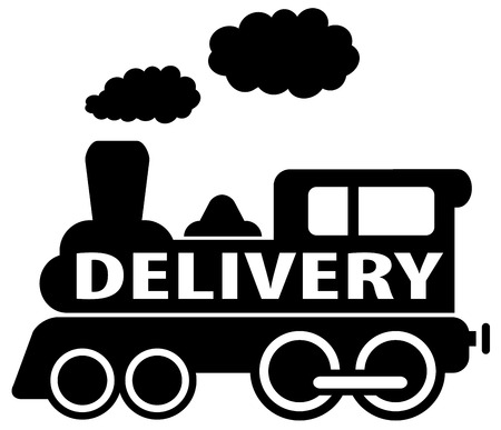 isolated black delivery train moving - cargo shipping icon Vector