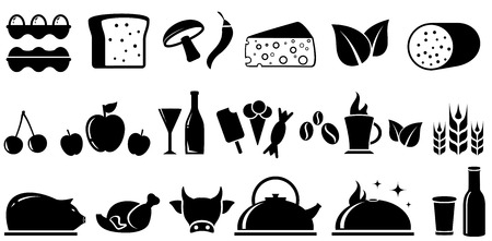 milk cheese: set black food isolated objects on white background Illustration