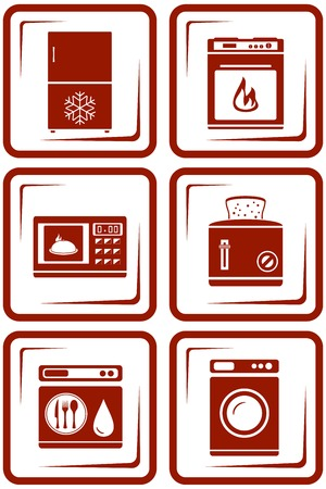 set icons with home appliance red silhouette Vector