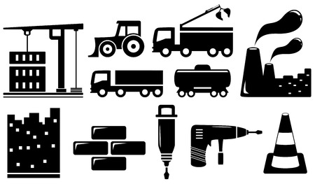 wheeled tractor: set black industrial objects and tools silhouette Illustration