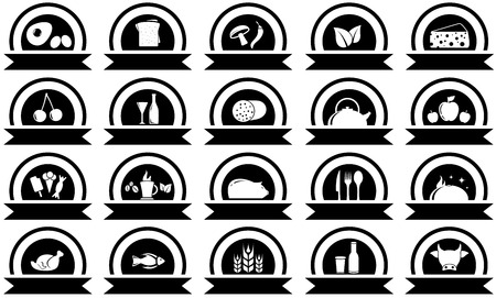 set twenty icons with black food objects silhouette Vector