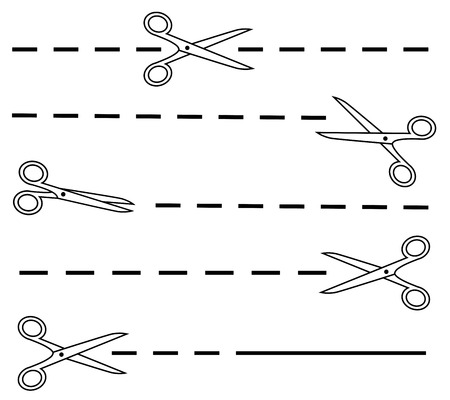 crossed out: isolated white scissors silhouette set with dotted line