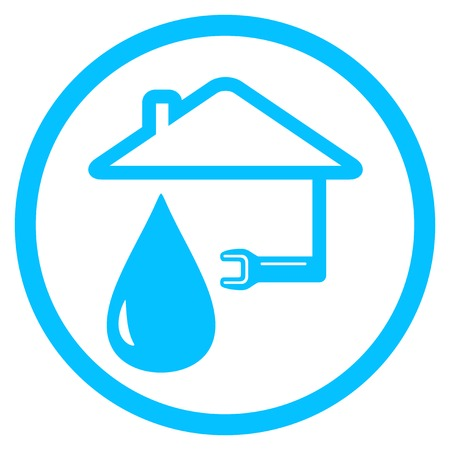 blue round plumber icon with wrench and house silhouette Vector
