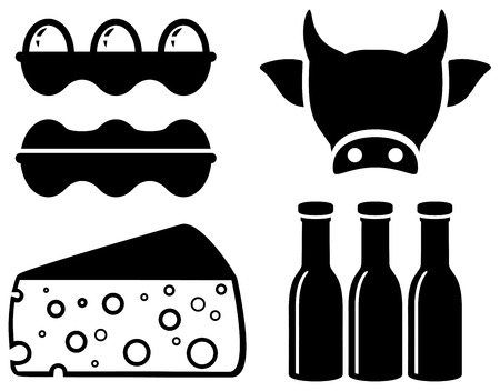 milk production: set black isolated food icon for milk production