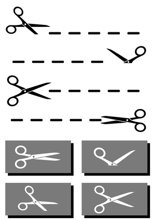 isolated set scissors, coupon and dotted line collection Vector