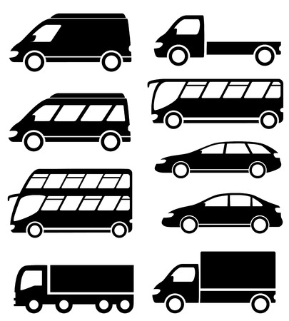 set isolated cargo and passenger transport icons on white background Vector