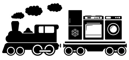 black train: isolated black train with home appliances icon