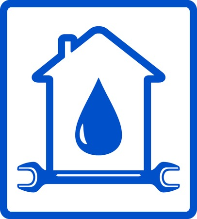blue icon water in home, plumber symbol Vector