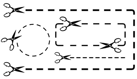 crossed out: dotted line set with black scissors silhouette cutting Illustration