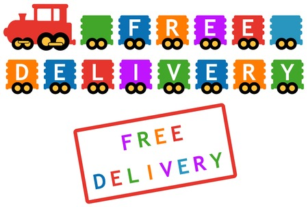 cachet: colorful locomotive icon  free delivery symbol - train with colorful car Illustration