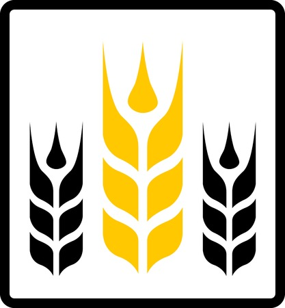 reaping: isolated icon with yellow wheat and black darnel symbol Illustration