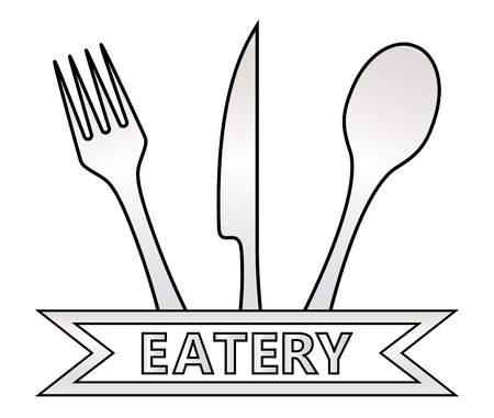 eatery: isolated metal eatery symbol icon on white background Illustration