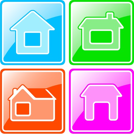 set colorful icons with four cottage silhouette Vector