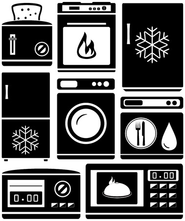 home products: set home appliance for kitchen  cuisine equipment Illustration