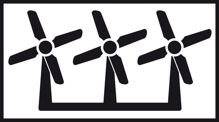 manipulated: black isolated windmill icon with three fan - alternative energy symbol Illustration