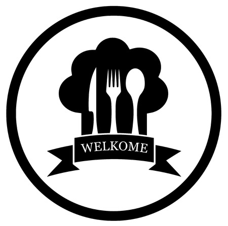 kitchener: black restaurant chief icon on round frame Illustration