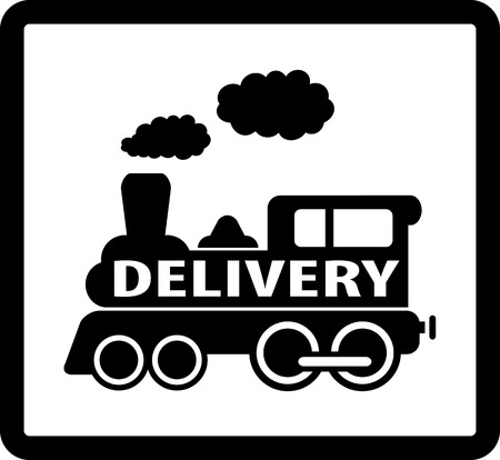black train on white background and frame delivery icon Vector