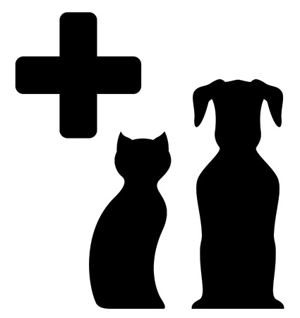black veterinarian medicine sign with pet silhouette Vector