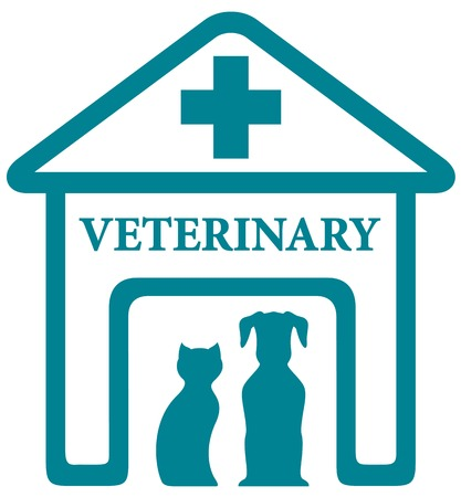 cat call: blue veterinary icon with home and pets silhouette
