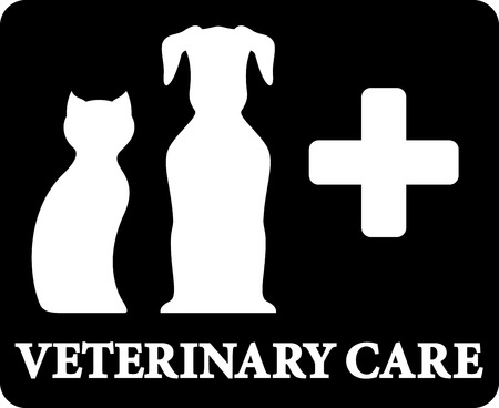 cat silhouette: black veterinary care icon with pets and cross on black background Illustration