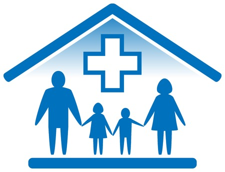 blue isolated medicine icon. family doctor symbol Illusztráció