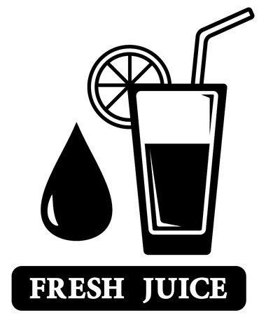 black isolated fresh juice icon with glass silhouette Vector