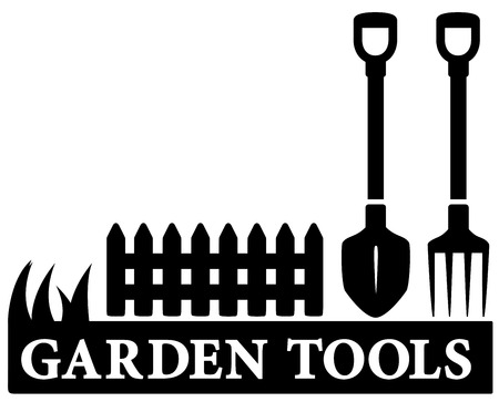 sward: black isolated gardening tools icon with shower, pitchfork and fence