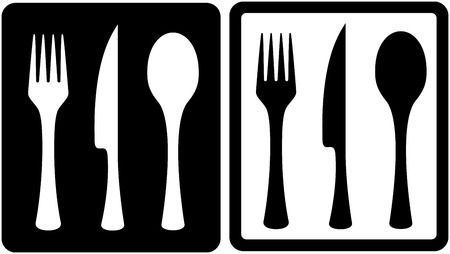 dinning table: set black and white kitchen utensil icons