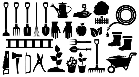 isolated set twenty seven black gardening  tools